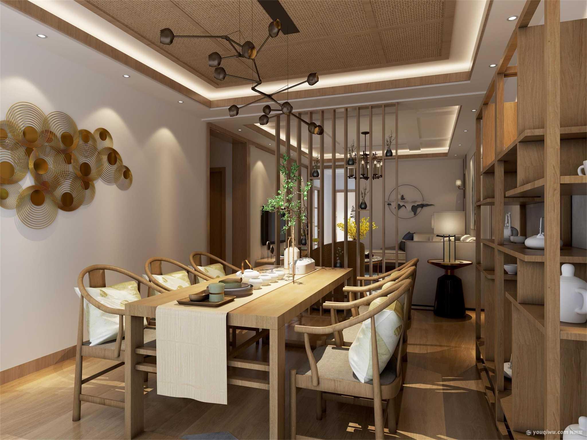 漪景园148三居室新中式风格装修效果图