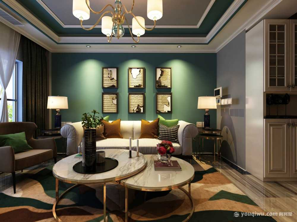 枫丹白露混搭客厅装修效果图