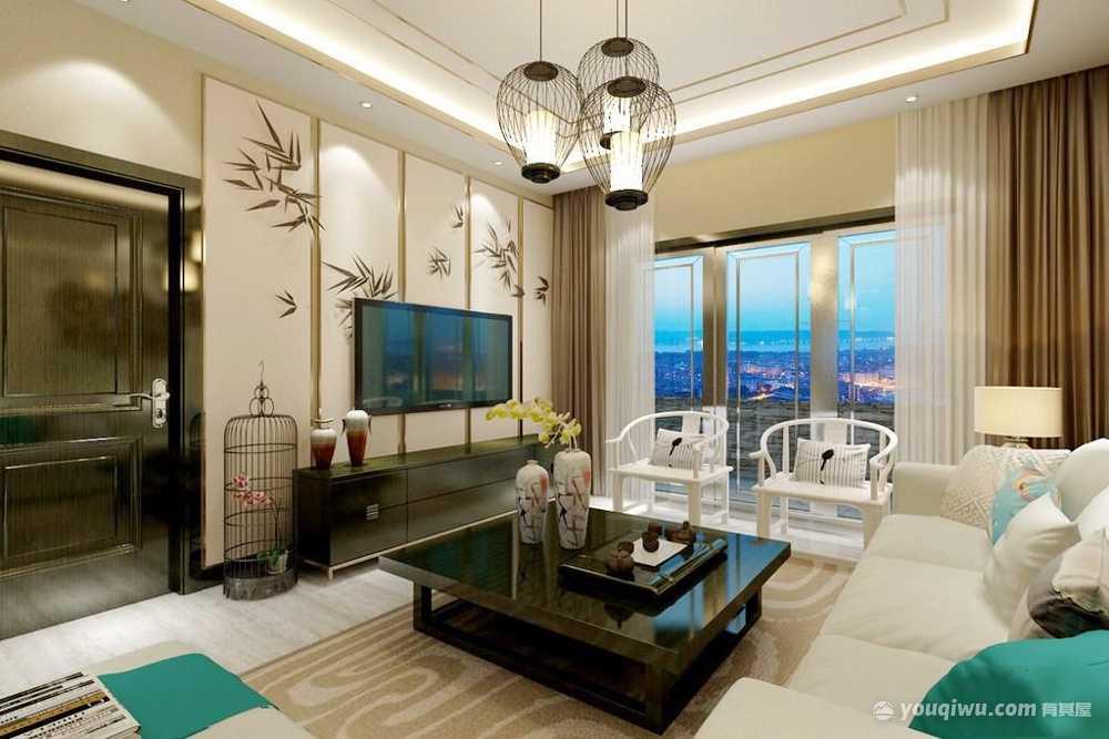 新中式风格客厅装修效果图—爱文装饰