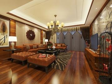 86平方米精致两室两厅东南亚风格装修效果图—华盈福装饰