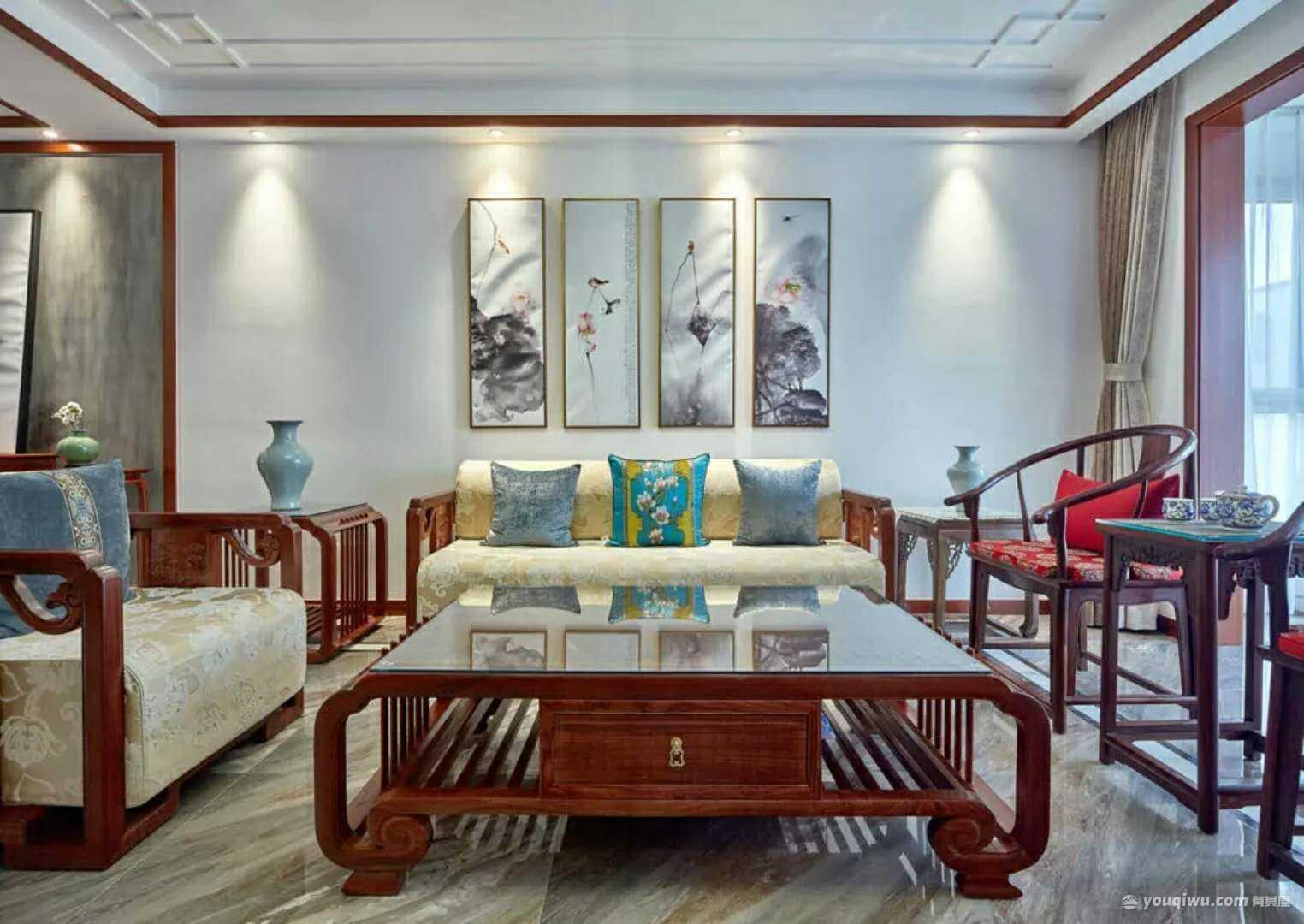 123平方米新中式风格装修效果图—金阳光装饰