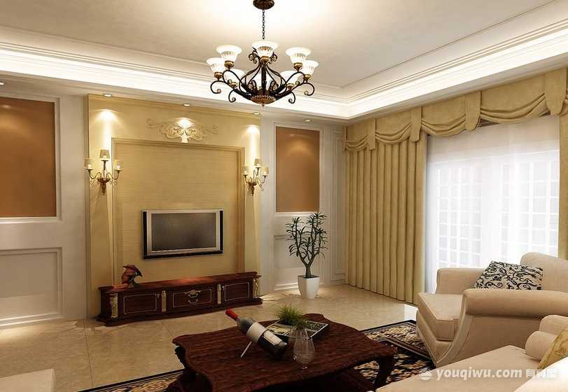 欧式风格客厅装修效果图—炬点装饰