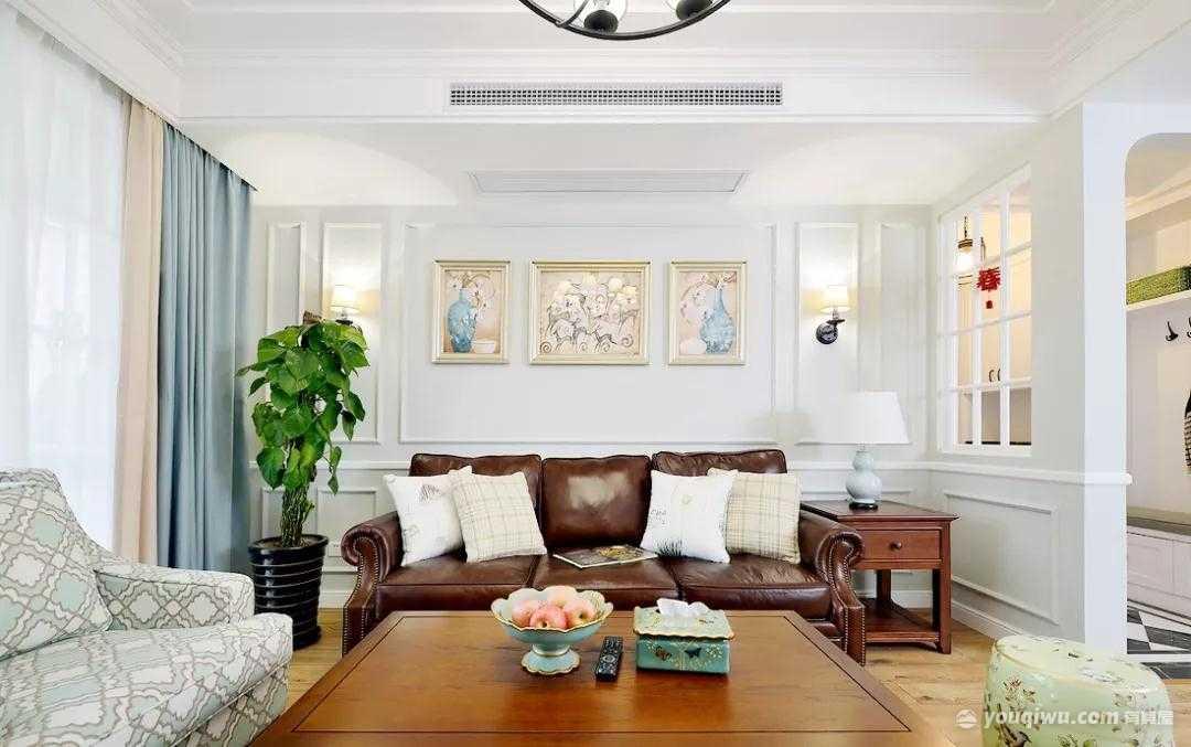 123平方米美式风格装修效果图—鸿伟地产装饰