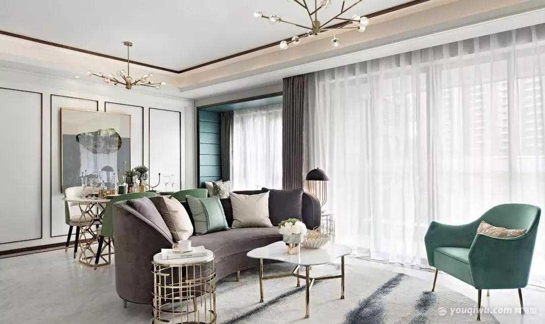 107平方米现代风格装修效果图—鸿伟地产装饰