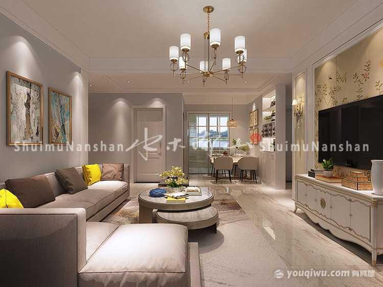 玺园110平米三居室现代简约风格装修效果图