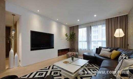 亲凤苑107平米现代简约风格大客厅装修效果图