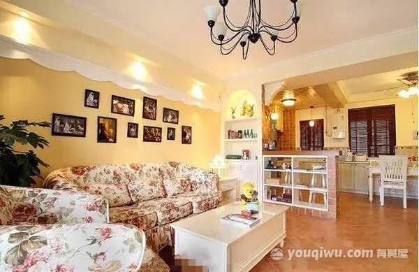 中亿阳明山水90平米三居室温馨浪漫田园风格效果图