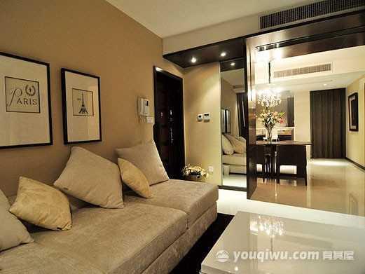 90平米三居室旧房改造低调奢华装修效果图