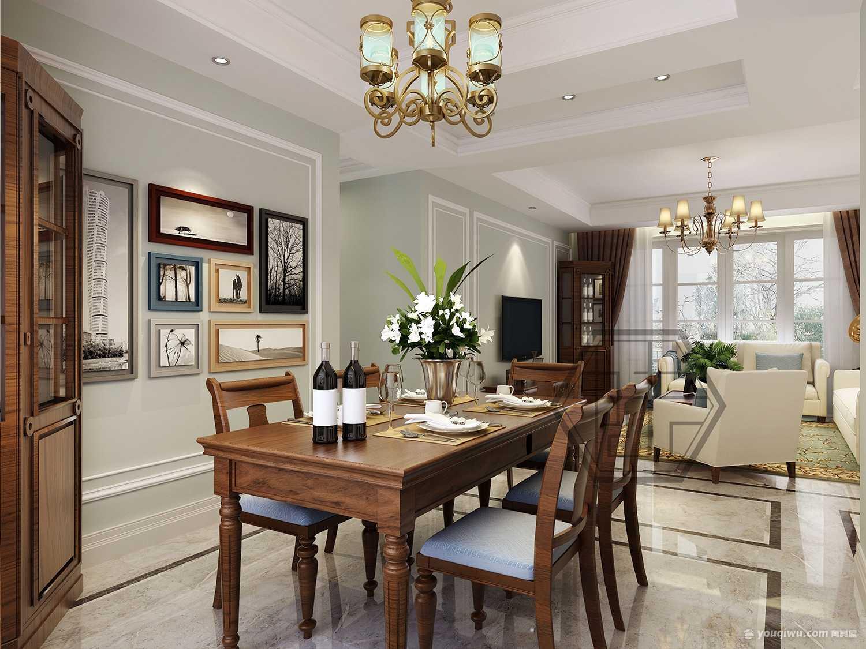 135平米三居室现代美式风格客厅装修效果图