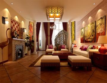 融创御景150平米三居室东南亚风格装修效果图