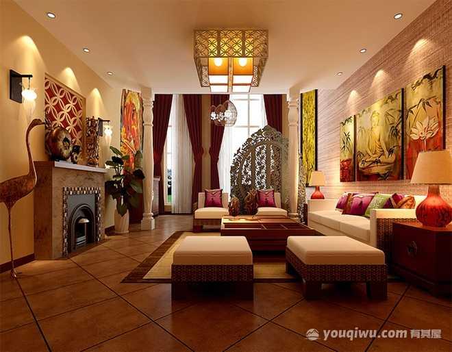 融创御景140平米四居室东南亚风格装修效果图