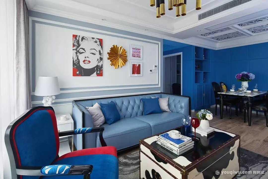 万科金域华府80平米二居室法式混搭风格装修效果图