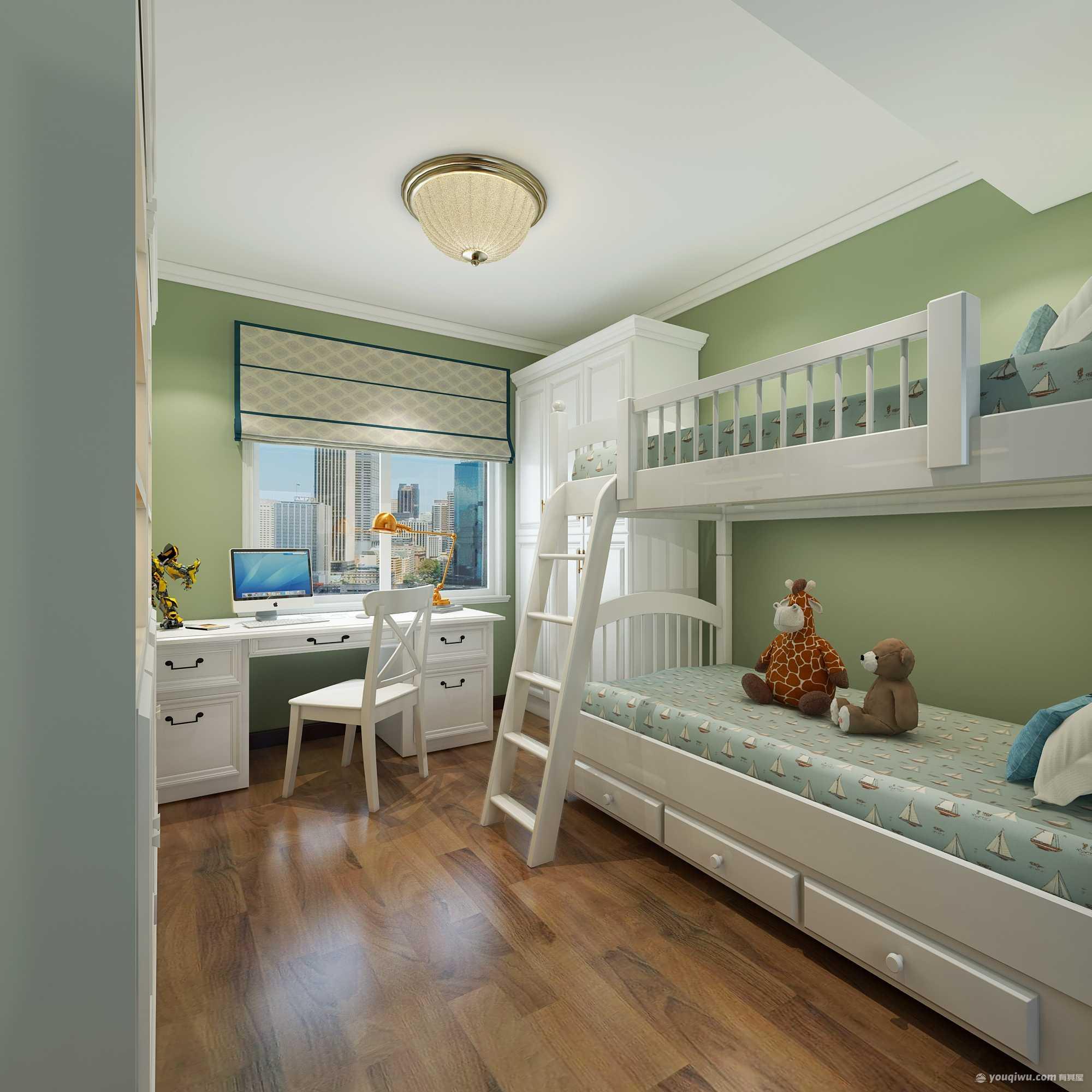 建业春天里140平米三居室美式装修效果图