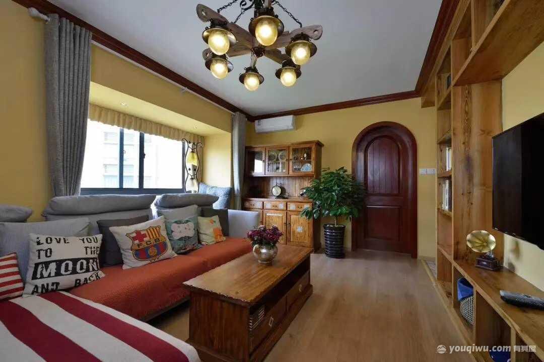 万科金域华府80平二居室美式风格装修效果图