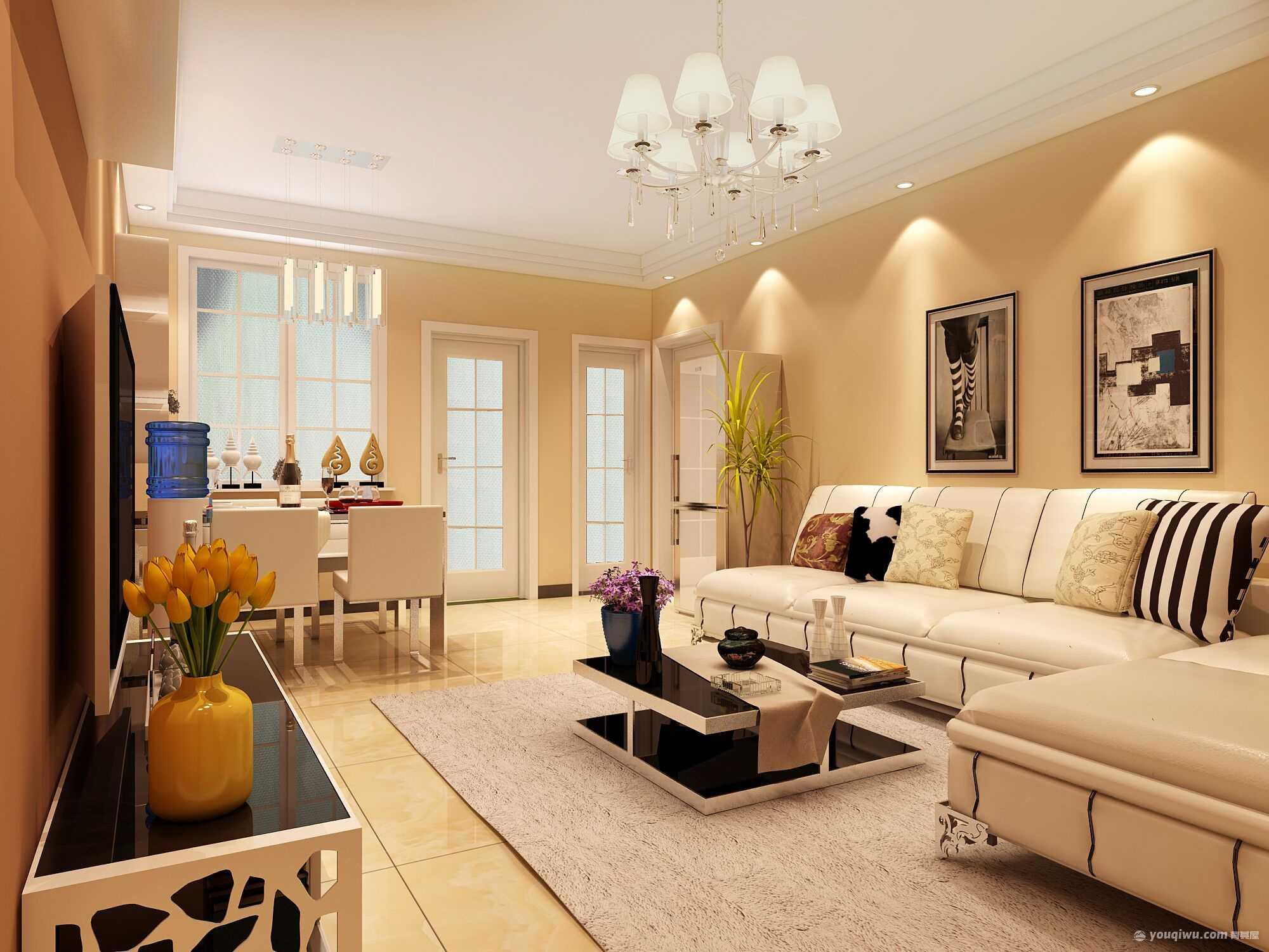 滨河绿苑90平米二居室现代简约风格装修效果图