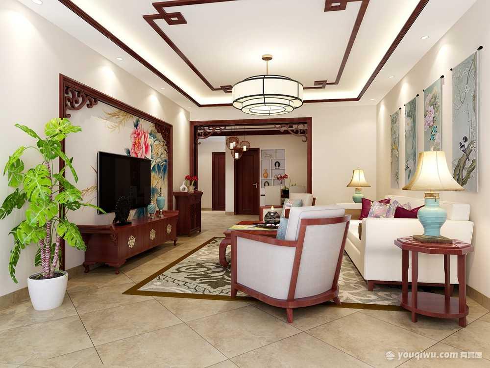 绿都丹石街区120平米三居室中式风格装修效果图