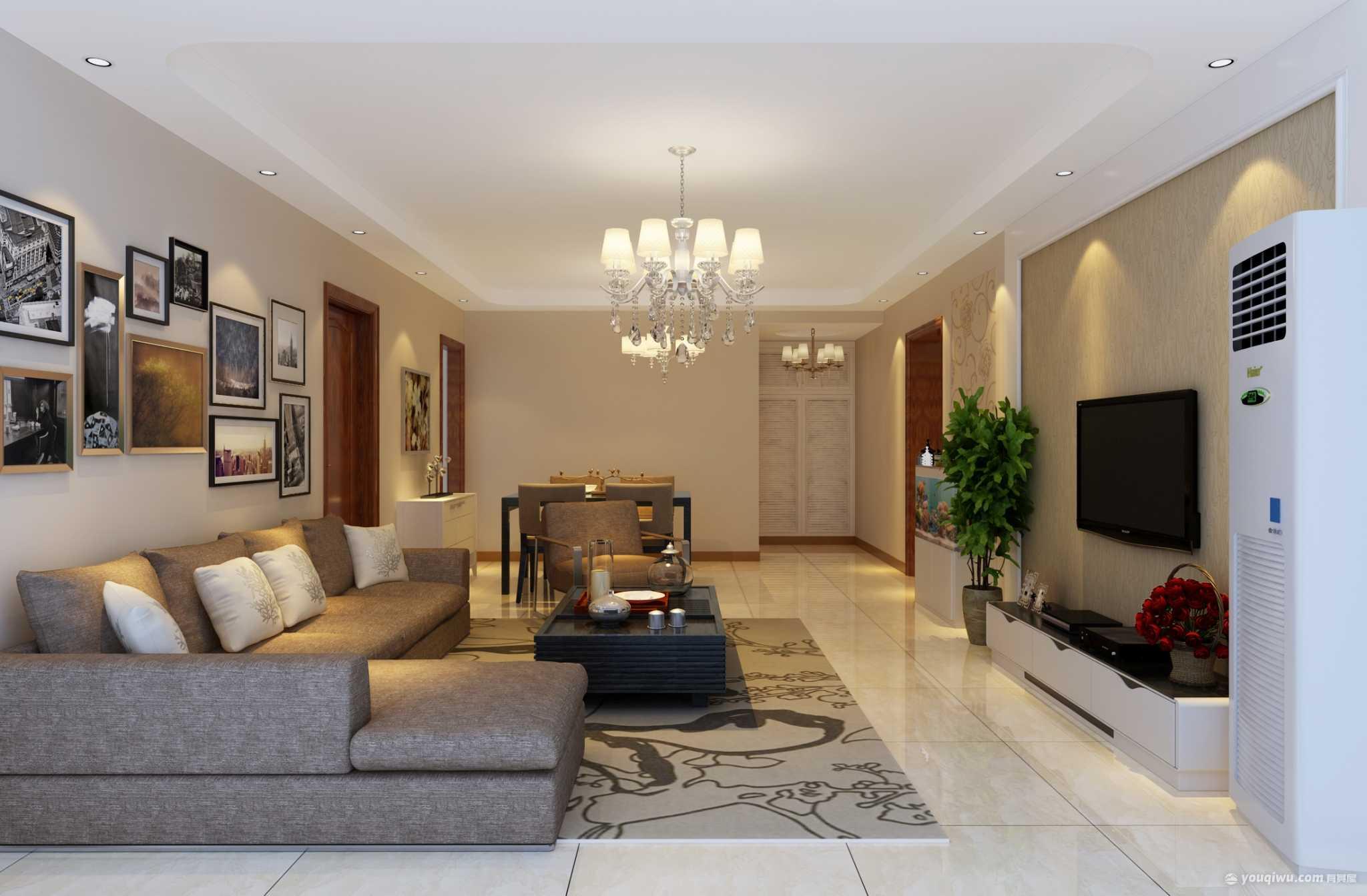 春和景园140平米三居室简约欧式装修效果图