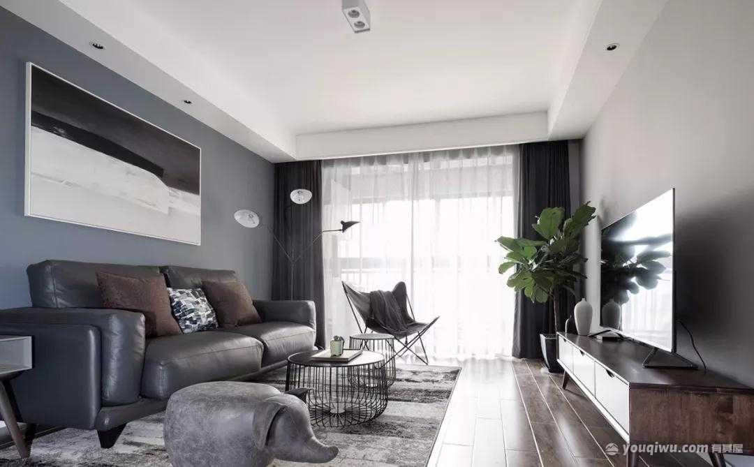 99平方米现代简约风格装修效果图—朝花设计