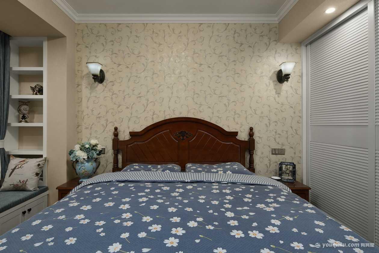 87平米小户型三居室美式风格装修效果图