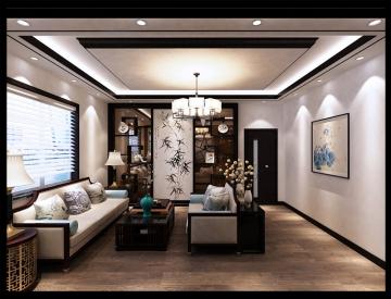 豪华独栋别墅新中式风格装修效果图