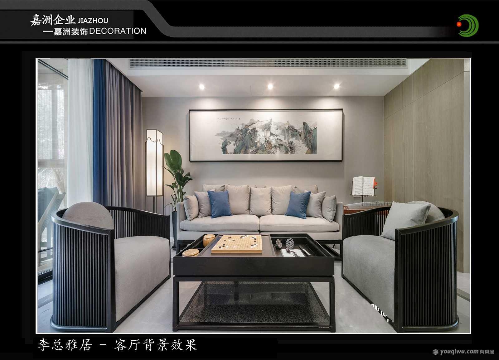万达120平方米三居室新中式装修效果图