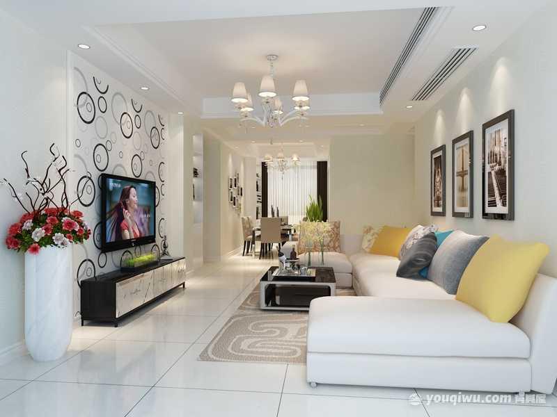幸福天地三居室简约风格客厅装修效果图