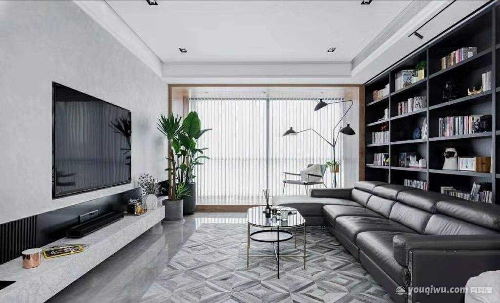 150平方米黑白灰调为基础的现代简约风格装修效果图。