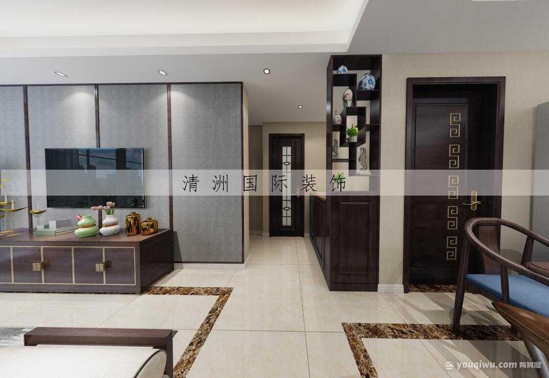 悦玲珑95平米三居室新中式风格装修效果图