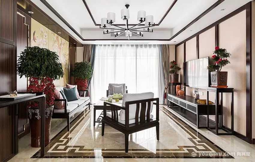 105平方米新中式风格装修效果图—鼎高装饰设计
