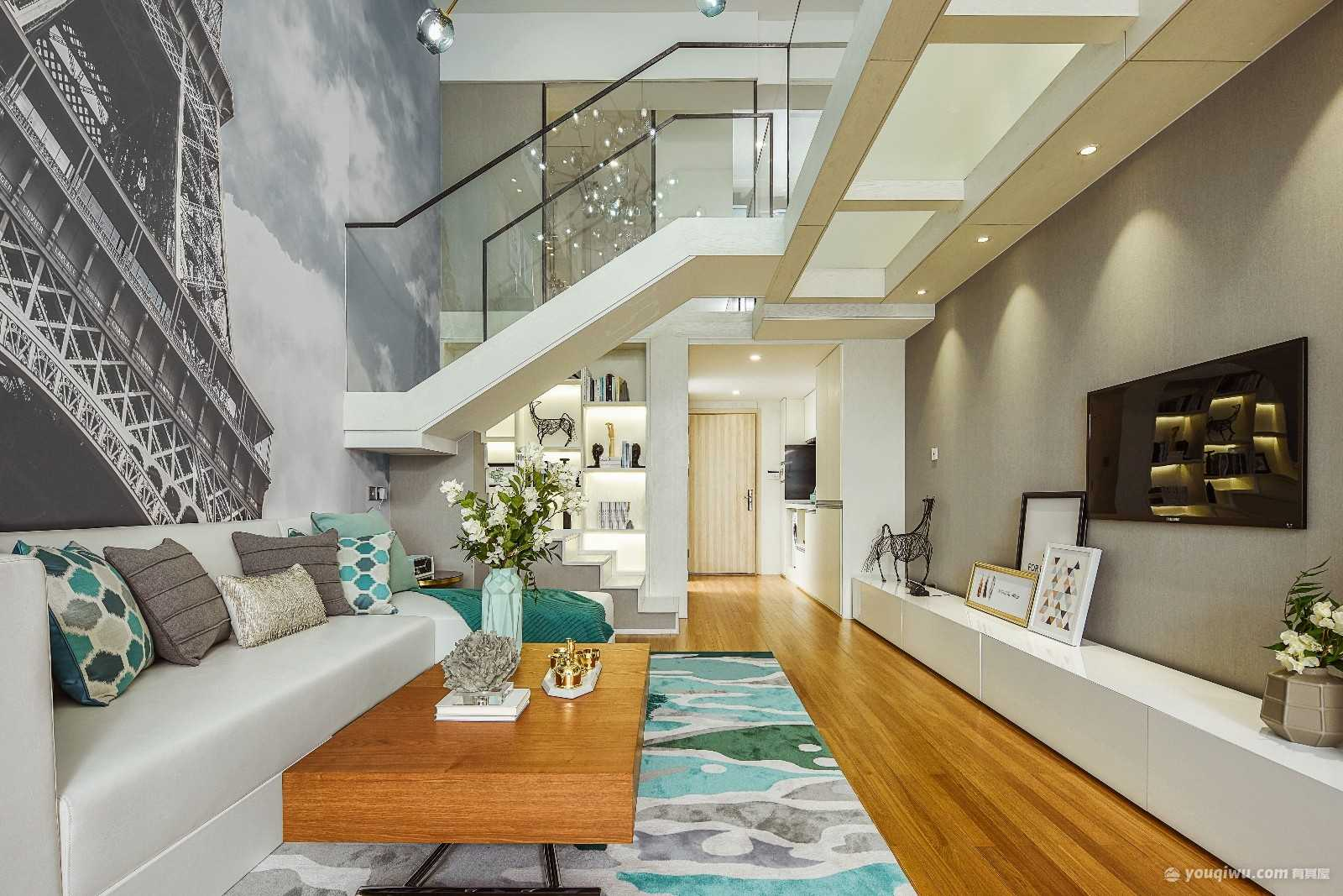 江北凤凰湾78平米两居室现代简约风格装修效果图