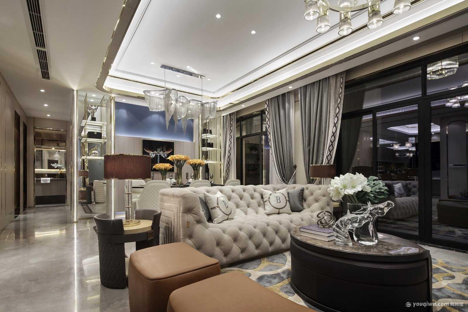 紫御江山138平米三居室简约欧式风格装修效果图