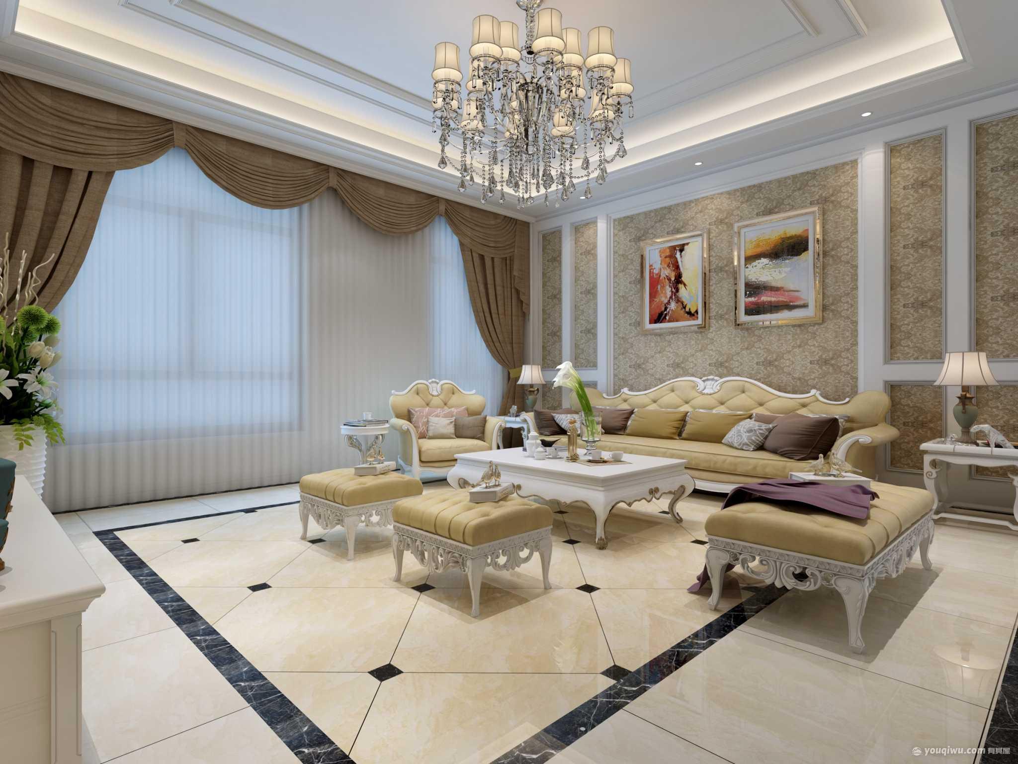 优胜美地120平米三居室美式风格装修效果图
