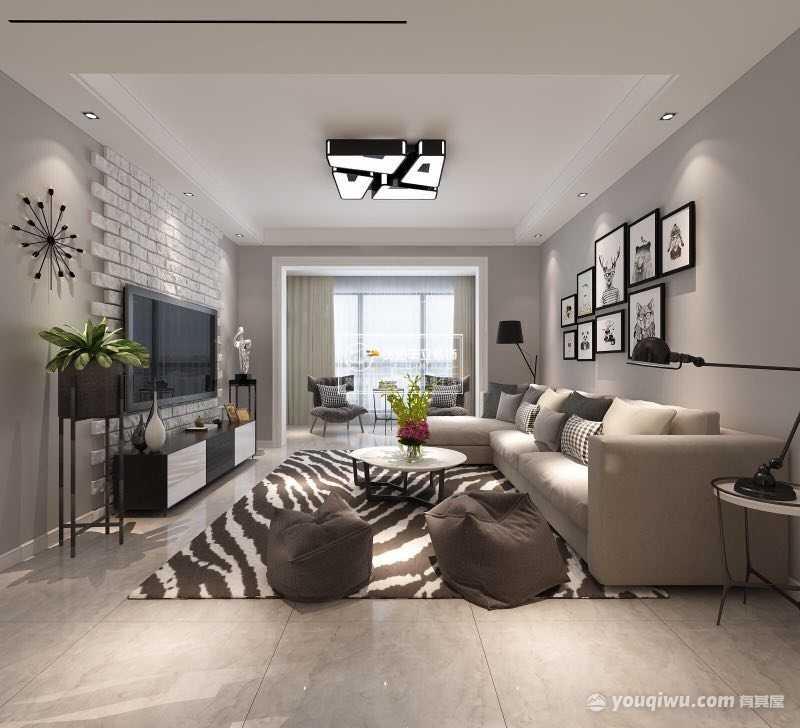 萃山国际109平米三居室现代简约风格装修效果图
