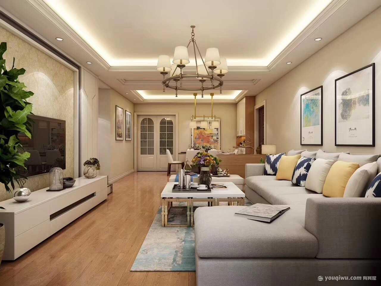 观山小区150平米三居室简约风格装修效果图