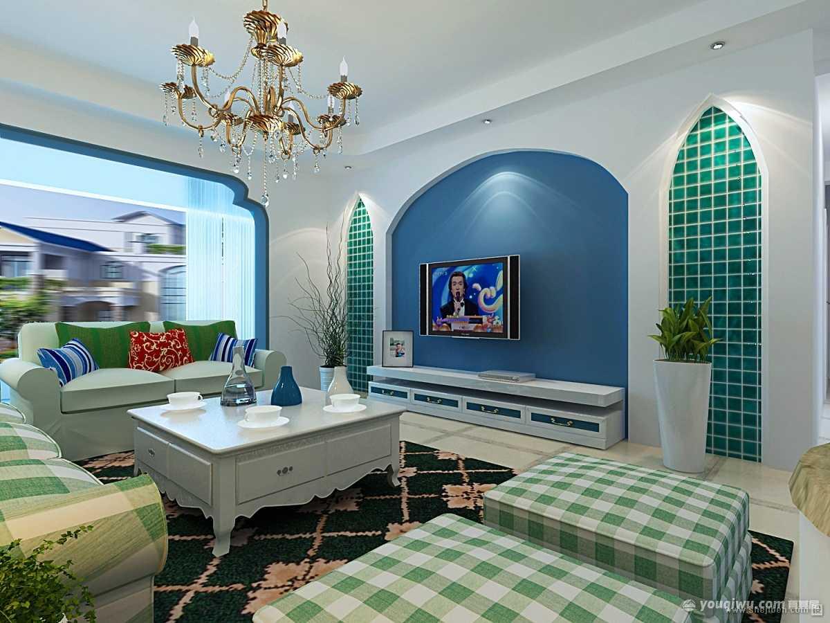 坝鑫家园95平米地中海风格装修效果图