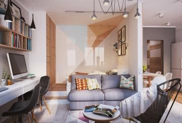 金域蓝湾56平米单身公寓现代风格装修效果图