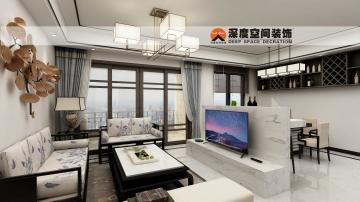 中海水岸城112平米中式风格装修效果图