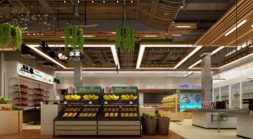 500平米生鲜超市装修效果图
