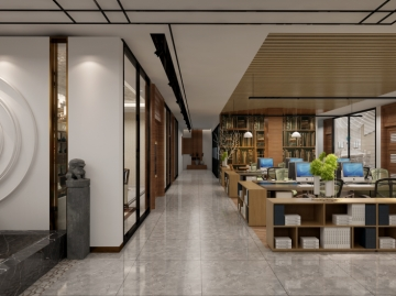 科技新城500平米中式风格办公室装修效果图