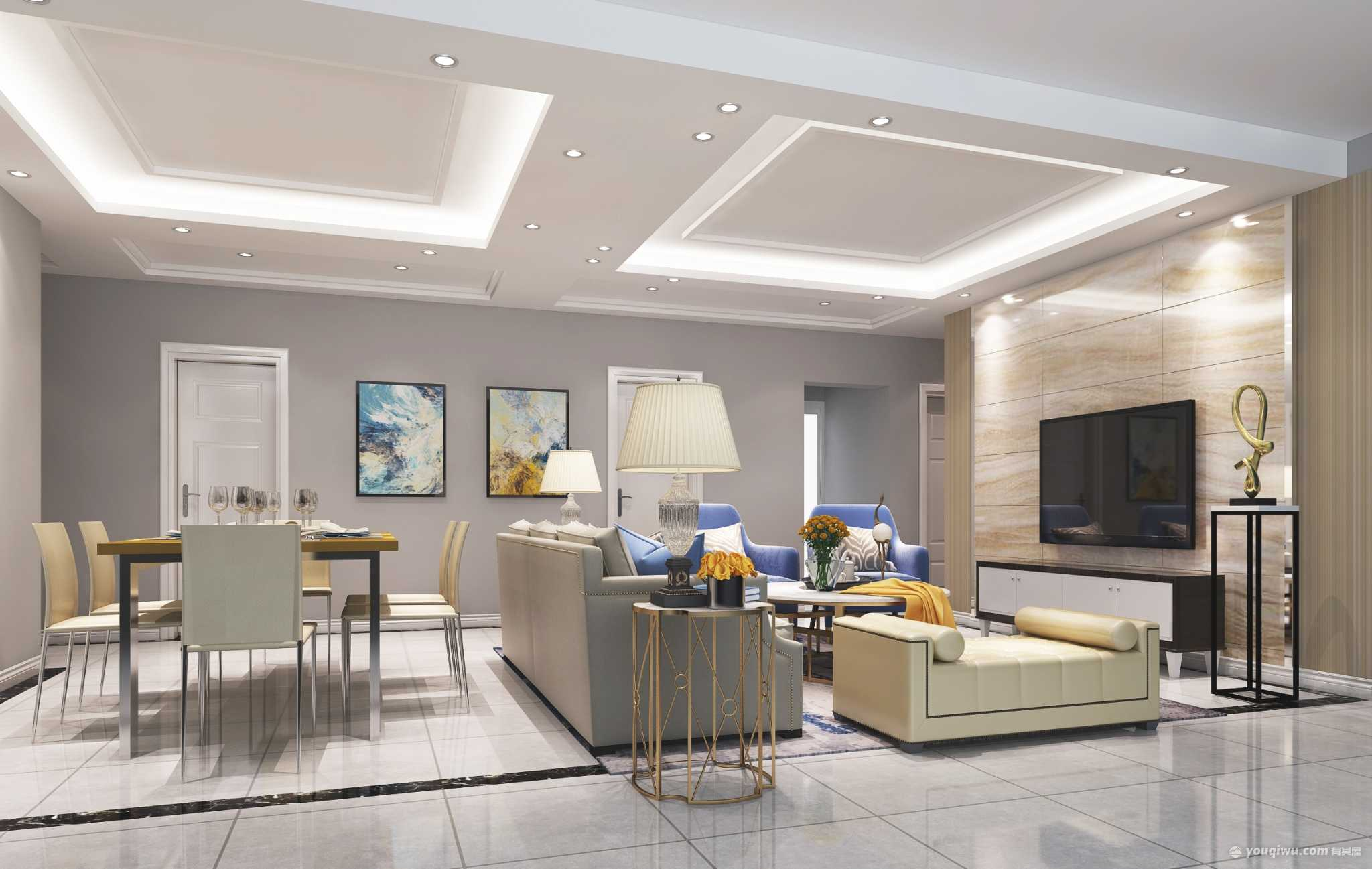 湖湘奥林匹克120平方三居室现代客餐厅装饰