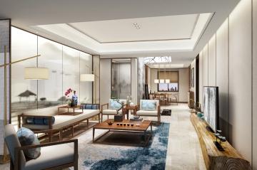 哈爾濱萬達城三居室中式風格豪華裝修效果圖