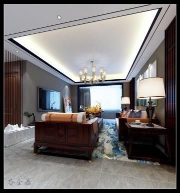 147平米三居室新中式风格装修效果图