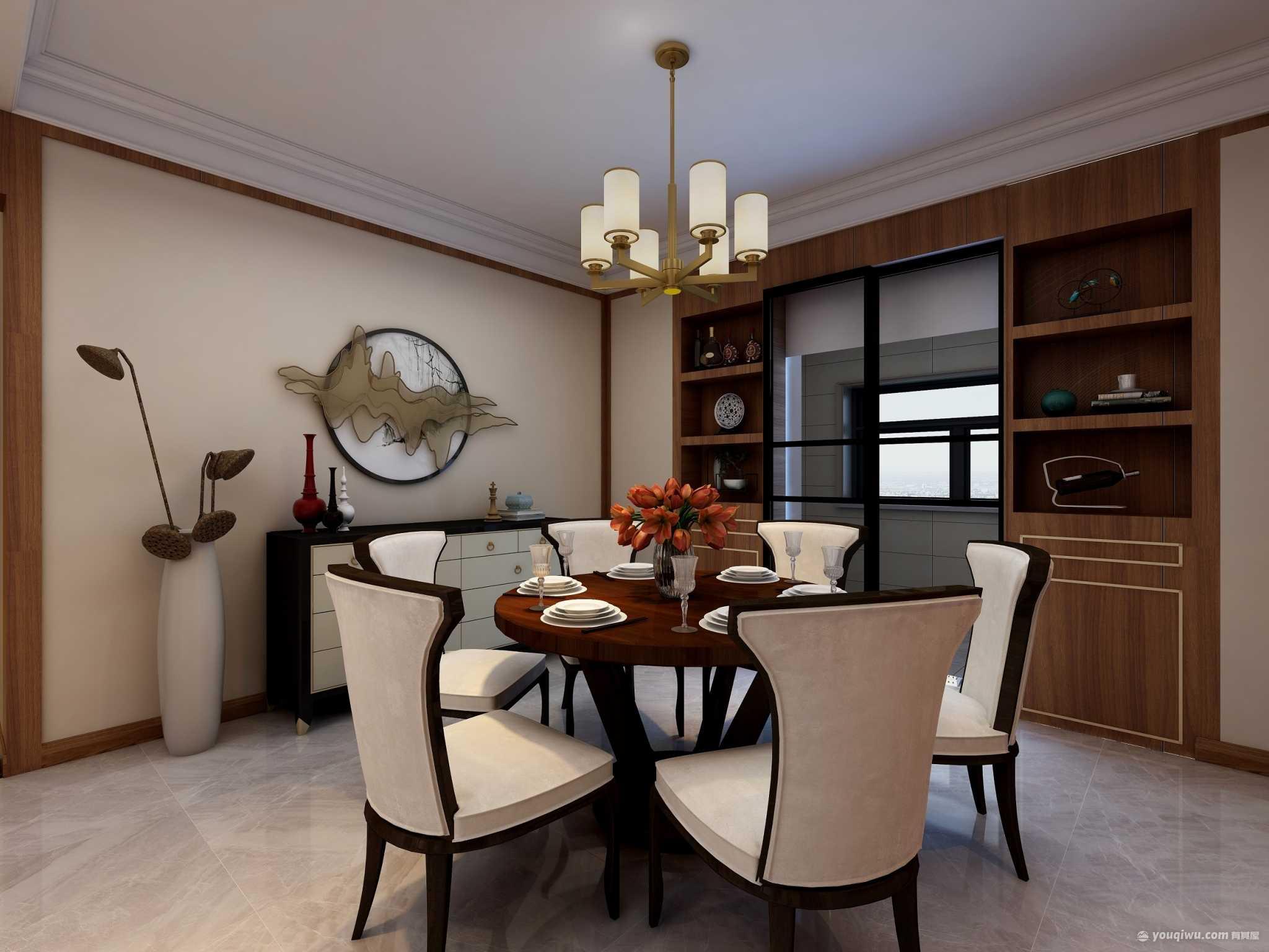 德杰国际城160平四室新中式风格装修效果图