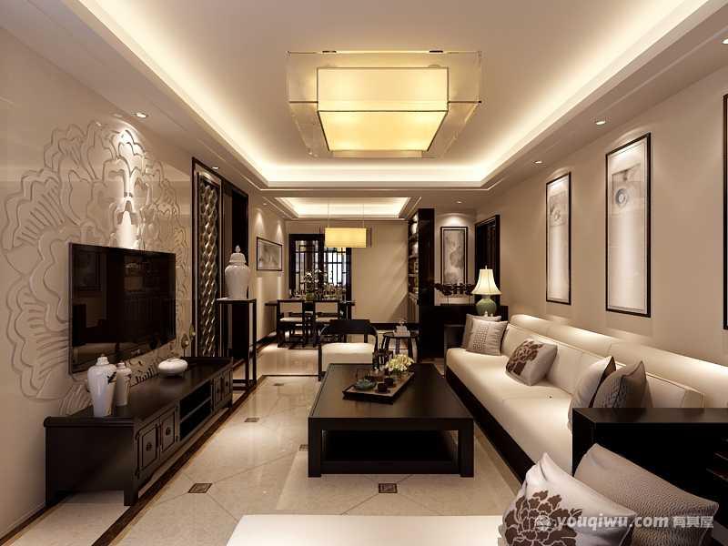 金泰丝路花城130平三室新中式风格装修效果图