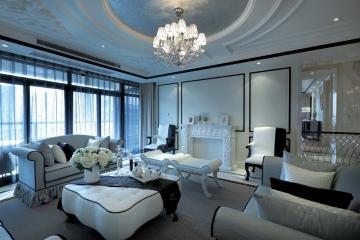 120平三室黑白欧式风 ...