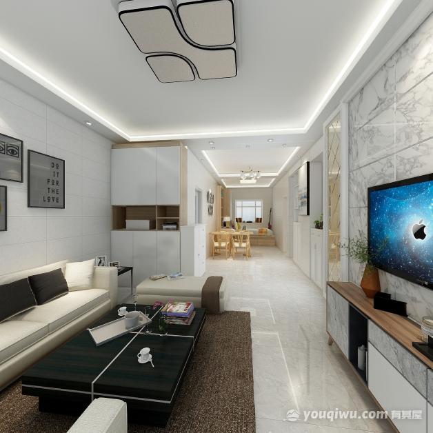 87平三室现代风格装修效果图