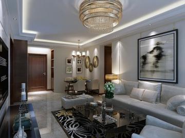 御景新世界98m²田园风格两居室装修效果图