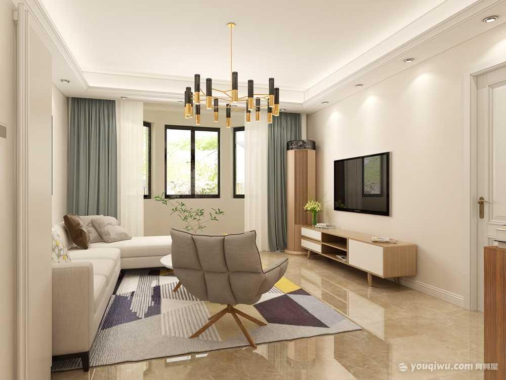 春江花月109m²现代简约风格3居室装修效果图
