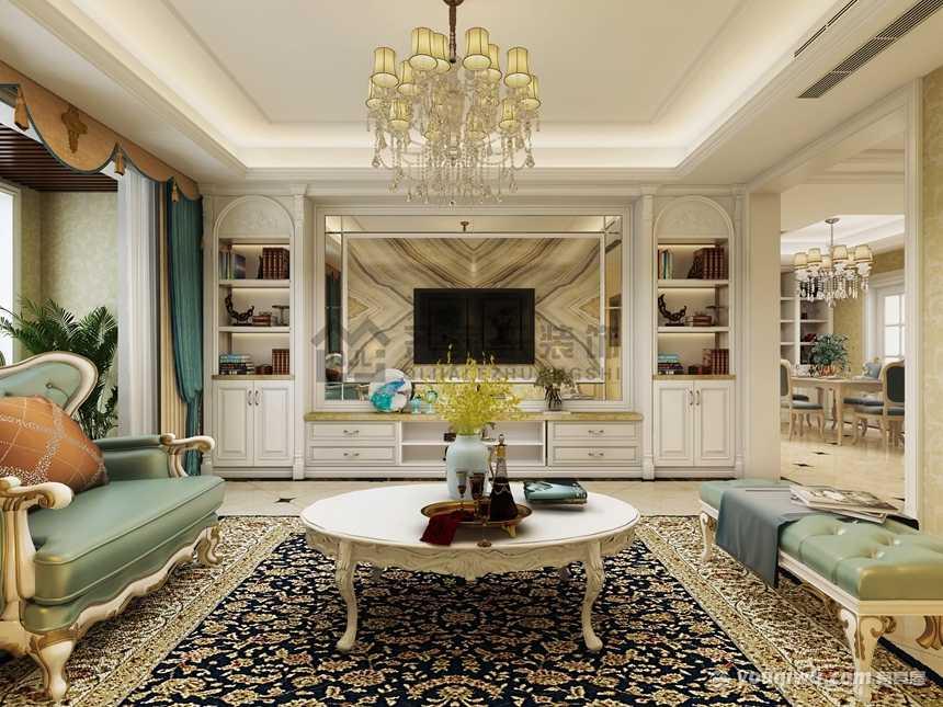 120平三居室温馨简欧风格装修效果图