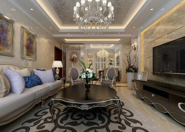 140平米三居室簡約歐式風格裝修設計效果圖
